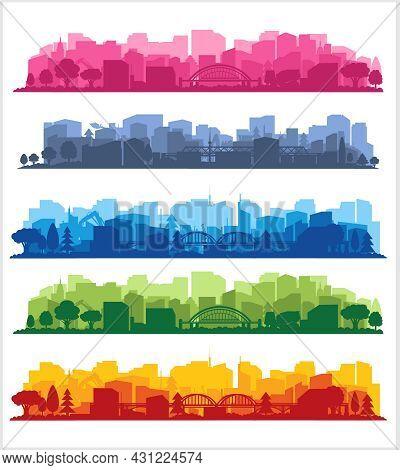 City View. City Landscape In Different Colors. City Silhouette.