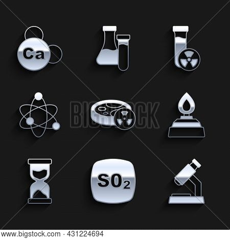 Set Test Tube With Toxic Liquid, Sulfur Dioxide So2, Microscope, Alcohol Or Spirit Burner, Old Hourg