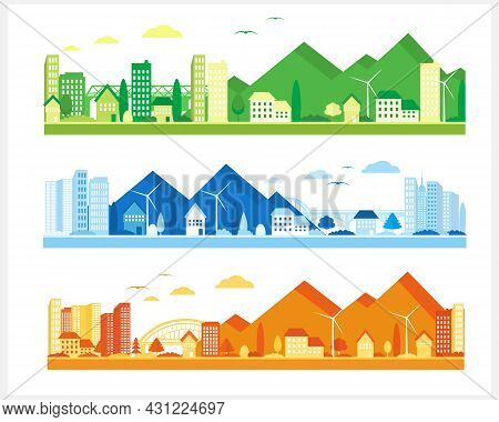 Urban Landscape With Mountains In Different Colors. Suburban Houses And Skyscrapers. City View.
