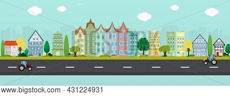 Vector Poster Overlooking The European City. City Street. View Of Houses, Street And Road.