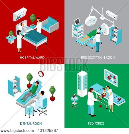 Hospital Departments And Resuscitation Room With Healthcare Professional And Patients 4 Isometric Ic