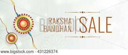 Raksha Bandhan White Sale Banner With Realistic Rakhi Vector Design Illustration