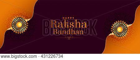 Beautiful Raksha Bandhan Banner With Realistic Rakhi Vector Design Illustration