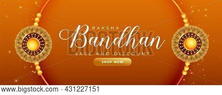 Beautiful Raksha Bandhan Sale Banner With Realistic Rakhi Design