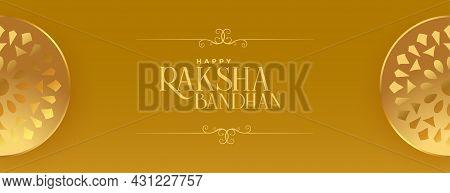 Raksha Bandhan Golden Banner With Decoration Vector Design Illustration
