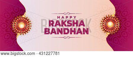 Traditional Raksha Bandhan Realistic Banner With Rakhi Design