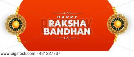 Happy Raksha Bandhan Festival Banner With Rakhi Vector Design Illustration