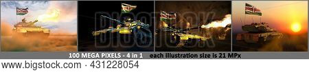 Kenya Army Concept - 4 Very High Resolution Pictures Of Tank With Not Real Design With Kenya Flag An