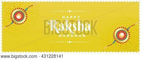 Raksha Bandhan Banner With Rakhi Vector Design Illustration