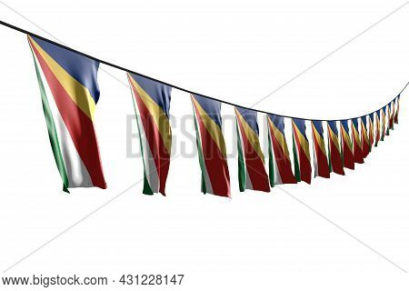 Beautiful Many Seychelles Flags Or Banners Hangs Diagonal With Perspective View On Rope Isolated On