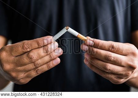 Winning With Addicted Nicotine Problems, Stop Smoking. Quitting From Addiction Concept.