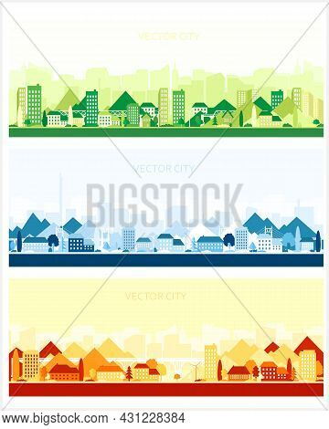 Three Vector Posters With City Views. Modern Cities With Skyscrapers, Houses And Mountains. Panorami
