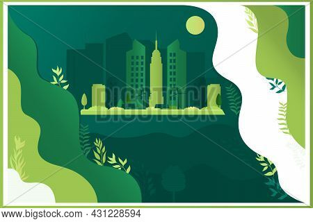 Vector Illustration Of A City View In Green With Plants. Conservation Of Nature.