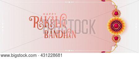 Beautiful Raksha Bandhan Decorative Greeting Banner Design