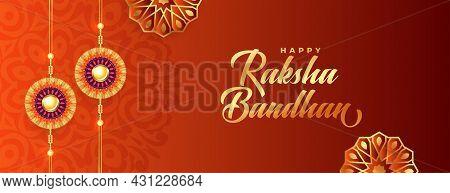 Happt Raksha Bandhan Decorative Banner Realistic Design