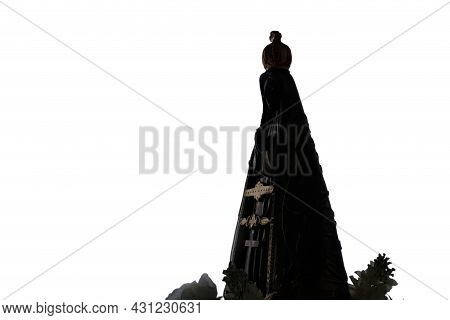 Silhouette Of The Statue With The Image Of Our Lady Of Aparecida, Mother Of God, Patroness Of Brazil
