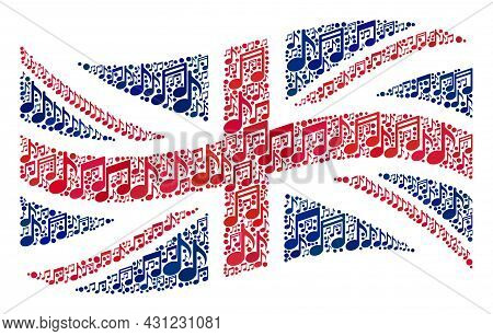 Mosaic Waving Great Britain Flag Constructed Of Musical Symbols. Vector Musical Collage Waving Great