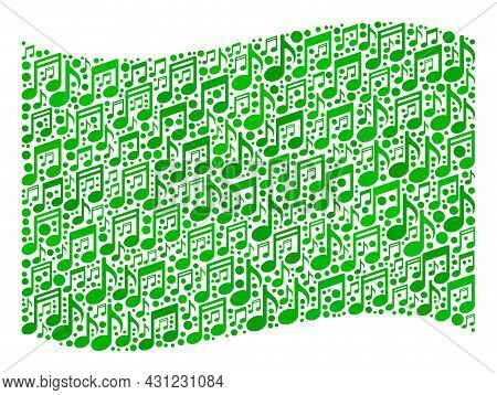 Mosaic Waving Green Flag Constructed With Musical Icons. Vector Musical Mosaic Waving Green Flag Org