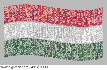Mosaic Waving Hungary Flag Designed Of Melody Notes. Vector Melody Mosaic Waving Hungary Flag Combin