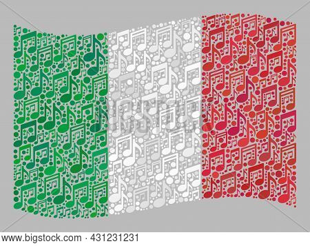 Mosaic Waving Italy Flag Designed With Melody Signs. Vector Melody Mosaic Waving Italy Flag Done For