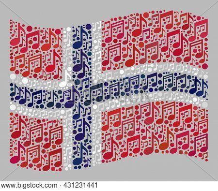Mosaic Waving Norway Flag Designed Of Musical Notation Symbols. Vector Music Mosaic Waving Norway Fl