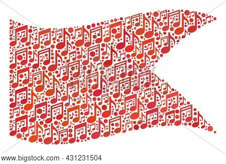 Mosaic Waving Red Guidon Flag Designed Of Melody Signs. Vector Melody Mosaic Waving Red Guidon Flag
