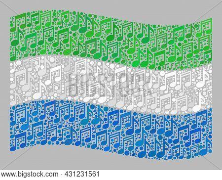 Mosaic Waving Sierra Leone Flag Designed With Melody Symbols. Vector Melody Mosaic Waving Sierra Leo