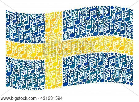 Mosaic Waving Sweden Flag Designed With Musical Signs. Vector Musical Collage Waving Sweden Flag Con