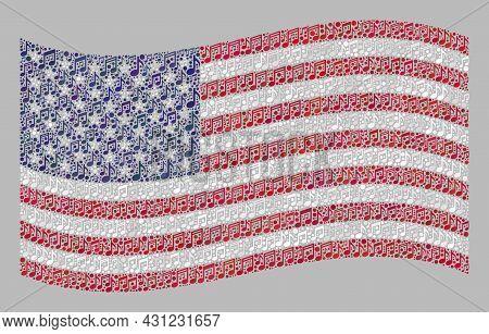 Mosaic Waving Usa Flag Created With Musical Icons. Vector Musical Mosaic Waving Usa Flag Designed Fo