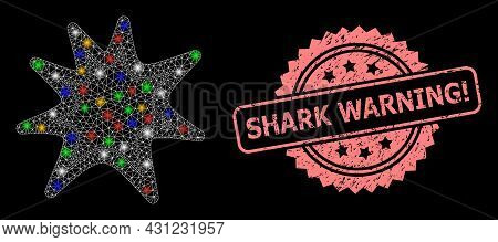 Glowing Mesh Web Exploding Boom With Glowing Spots, And Shark Warning Attention Rubber Rosette Stamp