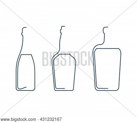 Bottle Continuous Line Wine, Whiskey And Liquor In Linear Style On White Background. Solid Black Thi