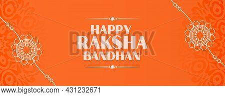 Happy Raksha Bandhan Orange Banner With Hand Drawn Rakhi Design