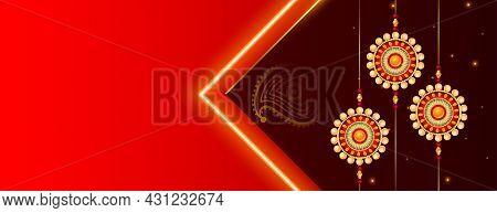 Beautiful Raksha Bandhan Festival Banner With Text Space