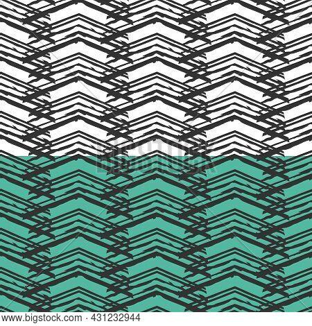 Hand Drawn Ink Brush Strokes Seamless Pattern. Grunge Black Line Stripes, Triangle Shapes. White, Bl