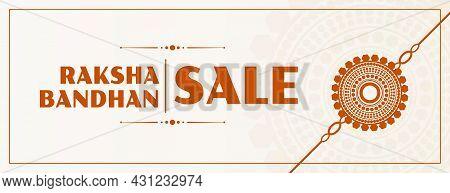 Raksha Bandhan Sale Banner With Flat Rakhi Design