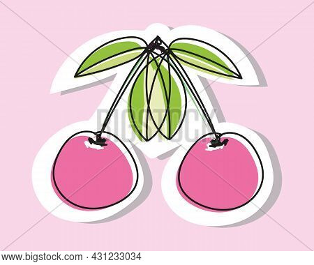 Vector Illustration Of A Pair Of Cherries Or Sweet Cherries In Doodle Style. Drawing With An Offset