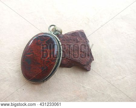 Raw Jasper And Jasper Polished Pendant. Red Jasper Is Grounding, Passion Expression And Protection.