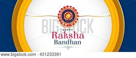 Elegant Raksha Bandhan Banner With Realistic Rakhi