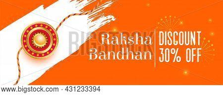 Raksha Bandhan Orange Banner With Realistic Rakhi Design