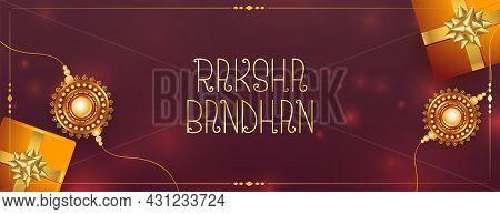 Realstic Raksha Bandhan Festival Banner With Gift Boxes And Rakhi