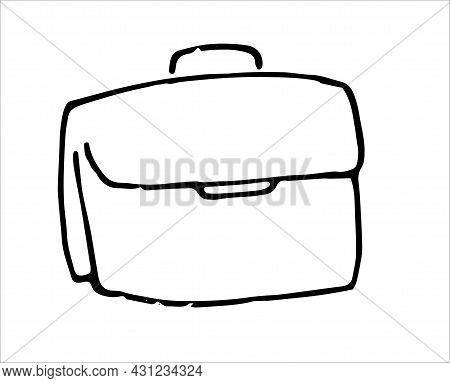 Vector Portfolio. A Rectangular Paper Briefcase Drawn In The Doodle Style, An Isolated Black Outline