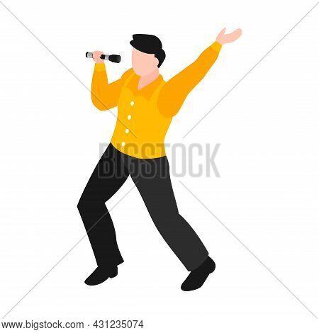Isometric Character Singing And Dancing In Karaoke Vector Illustration