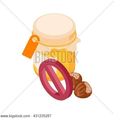 Isometric Allergens Icon With Prohibited Jar Of Honey And Nuts 3d Vector Illustration