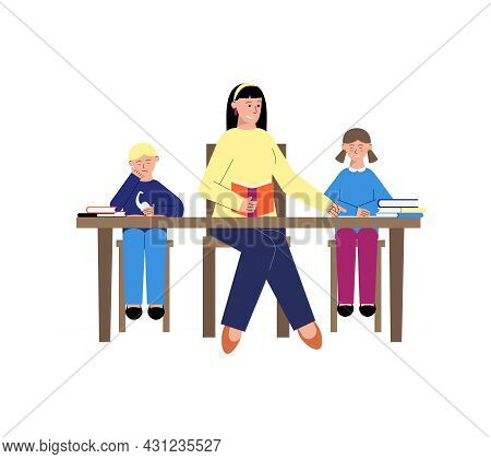 Tutoring Flat Composition With Children Reading With Female Teacher Vector Illustration