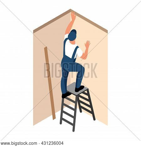Apartment Repair Isometric Icon With Worker Standing On Ladder And Installing Ceiling Moldings Vecto