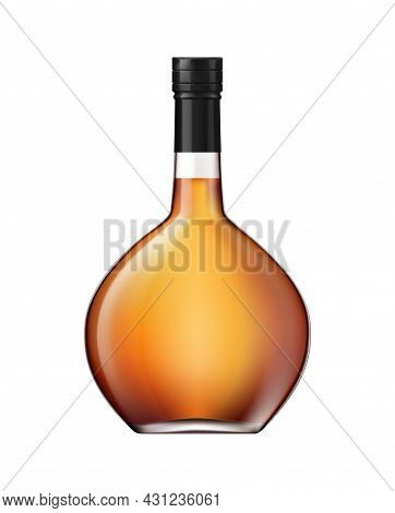 Realistic Full Bottle Of Whisky Brandy Or Cognac On White Background Vector Illustration