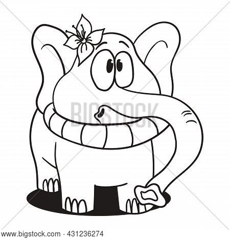 Elephant Stuck In A Lifebuoy. Coloring Book