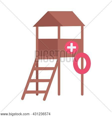 Lifeguard Tower With Flotation Ring Icon In Flat Style Vector Illustration