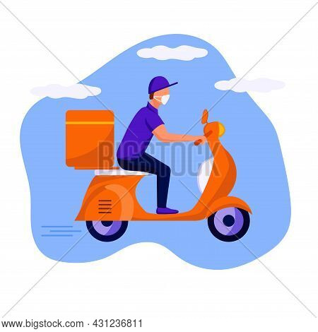 Delivery Man Scooter Dd Ww Isol People