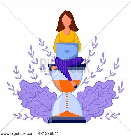 Girl Sitting Hourglass 5 Dd Ww Isol People